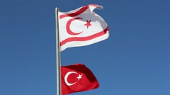 Flags of Turkey and Northern Cyprus close-up Stock Footage