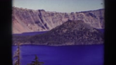 1937: view point of hills and water dam CRATER LAKE OREGON Stock Footage