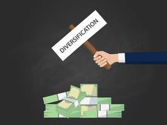 Diversification business concept illustration with businessman hand holding a Stock Illustration