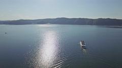 Tour Ship Lake Aerial 4k Stock Footage