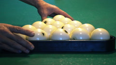 Young woman playing billiard Stock Footage