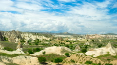 Movement of the clouds on the amazing mountain landscape of Cappadocia, Turkey Stock Footage