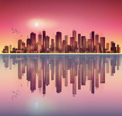 Urban night city landscape in moonlight or sunset, with reflection in water Stock Illustration