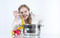 Homemaker in with ladle Stock Photos