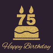 The birthday cake with candles in the form of number 75 icon. Birthday symbol Stock Illustration