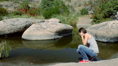 Woman relax in canyon  Stock Footage