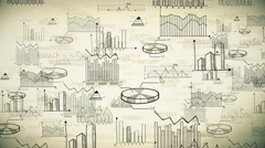 Retro animation business marketing financial statistic doodle background Stock Footage