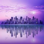 Modern night city skyline in moonlight or sunset, with reflection in water an Stock Illustration