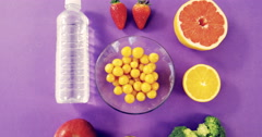 Water bottle, fruits, vegetable and measuring tape Stock Footage