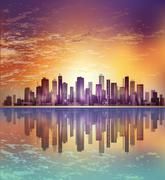 Urban night city landscape in moonlight or sunset, with reflection in water a Stock Illustration