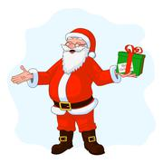 Vector Illustration of jolly plump Santa Claus with divorced hands and gift box Stock Illustration