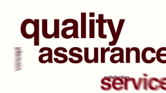 Quality assurance animated word cloud Stock Footage