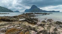 Rocky reef on the bay of El Nido. Palawan island, Philippines Stock Footage
