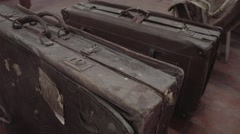 Old travel suitcase Stock Footage