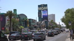 Las Vegas street view cars and signs Stock Footage