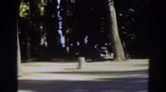 1937: panorama of charming, rustic campground parking lot  Stock Footage