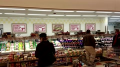 Market Basket deli meat counter customers, sound Stock Footage