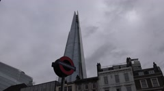 The Shard building and underground sign Stock Footage