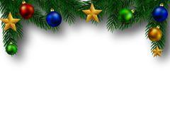 Christmas fir branch with embellishment Stock Illustration
