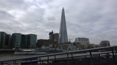 The Shard Building with HMS Belfast in foreground Stock Footage