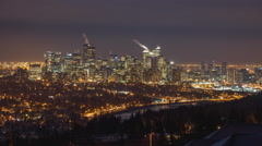 Cold night overlooking downtown Calgary Stock Footage