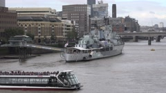 HMS Belfast and the Thames London Stock Footage