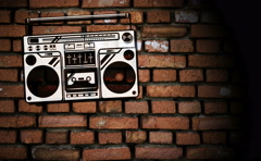Boom box graffiti animation on the brick wall Stock Footage