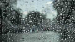 Rain drops on the windshield Stock Footage