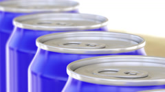 Blue cans on conveyor. Soft drinks or beer production line. Recycling packaging Stock Footage