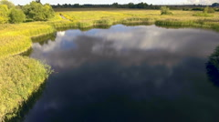 Panning shot of blue natural pond. Aerial view Stock Footage