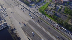 Aerial video of the highway at an angle Stock Footage