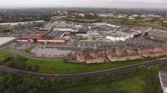 Aerial view of a shopping centre and residential area. Stock Footage