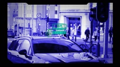 CCTV Camera - Surveillance - detecting  profile - monitor - blue Stock Footage