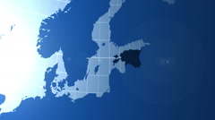 Estonia. Zooming into Estonia on the globe. Stock Footage