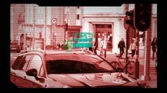 CCTV Camera - Surveillance - detecting  profile - monitor - red Stock Footage