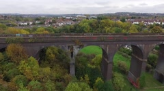 Aerial view of a railway viaduct. Stock Footage