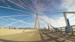 POV vehicle drive famous Rio Antirrio Bridge car travel blue sky sunny Greece Stock Footage