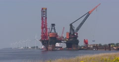 Deepwater Construction Vessel (DCV) and crane vessel moored at Calandkanaal Stock Footage
