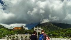 Gates to the Po Lin monastery on Lantau island, Hong Kong. 4K TimeLapse - August Stock Footage