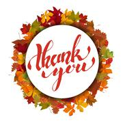Thank You. Hand drawn lettering on light background with yellow autumn leaves Stock Illustration