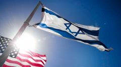 Flags of Israel and USA Stock Footage