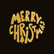 Merry Christmas. Hand drawn lettering on dark background with golden sparkles Piirros