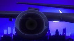Leeds England United Kingdom Airplane Take Off Moon Night Blue Skyline Travel Stock Footage