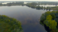 Nature sanctuary. Misty lakes in the morning. Aerial view Stock Footage