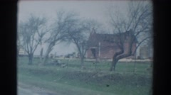 1958: deciduous small trees standing on the grassland near to a road YORK Stock Footage
