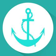 Anchor. Icon. Vector illustration in a flat style. Isolated on white backgrou Stock Illustration