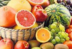 Composition with assorted fruits. Balanced diet Stock Photos