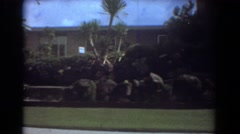1967: a person walking and admiring the luxurious neighborhood. FORT LAUDERDALE Stock Footage