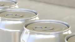 Carbonated soft drink or beer production line. Aluminum cans on industrial Stock Footage