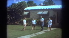 1967: visiting family on a pretty day FORT LAUDERDALE FLORIDA Stock Footage